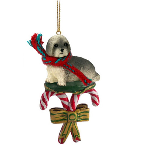 gray lhasa apso sport cut  candy cane