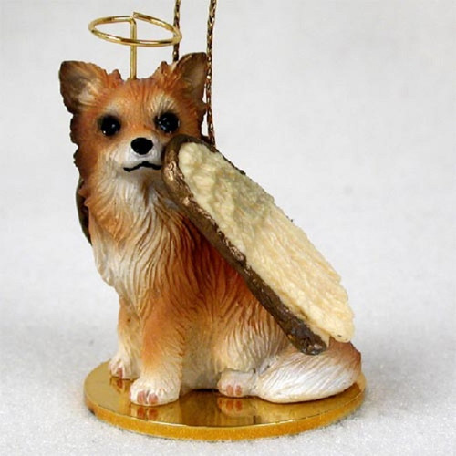 Chihuahua Longhaired angel ornament