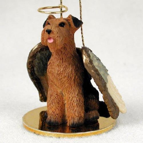 Airedale Christmas angel dog ornament