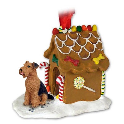 Airedale Gingerbread House Ornament