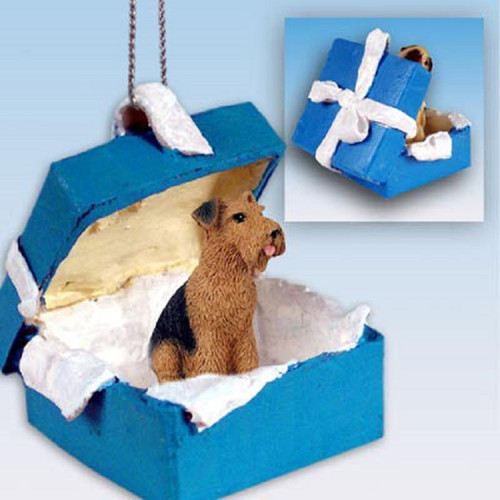 airedale dog blue gift box ornament