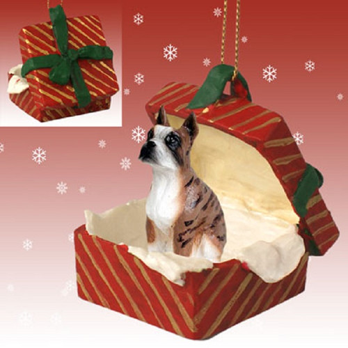 boxer brindle dog Red gift box ornament