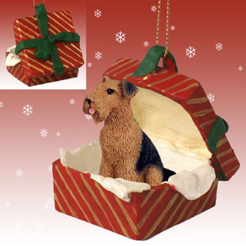 airedale dog Red gift box ornament