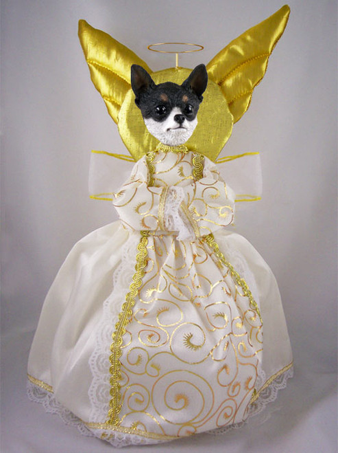 black and white chihuahua angel tree topper