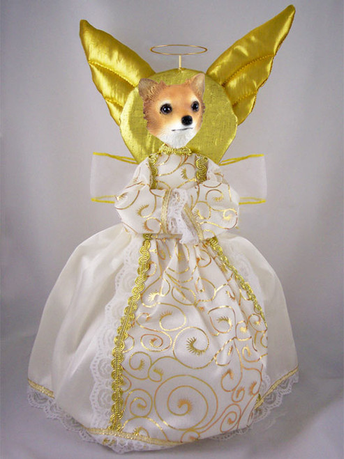 chihuahua longhaired dog angel tree topper