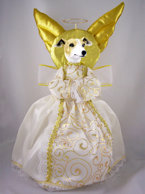 tan and white greyhound dog angel tree topper