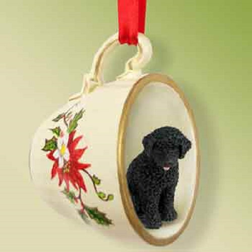 portuguese water dog tea cup Red ornament
