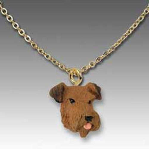 airedale dog Hand Painted Pendant
