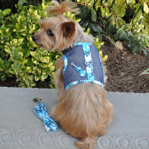 Ukulele Blue Hibiscus Cool Mesh Dog Harness with Matching Leash by Doggie Design