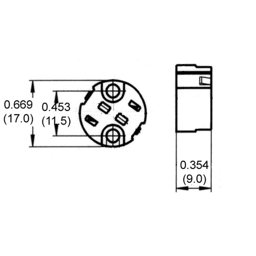 LH0380 G4, G5.3, G6.35 halogen lamp holder/socket with two hole mounting and no leads