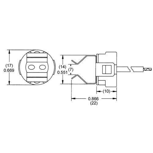 """LH0523 G4, G5.3, G6.35 bipin halogen lamp holder/socket with 1/8 IPS hickey and 7"""" leads"""