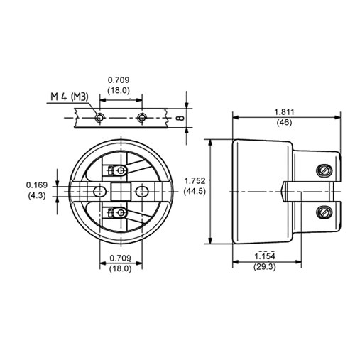 LH0551 E26/E27 4kv pulse rated HID lamp holder/socket with 2 hole mounting and set screw connections