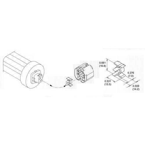 LH0566 57w, 75w GX24q-5, GX24q-6 base converter for many 4 pin CFL lamp holders/sockets