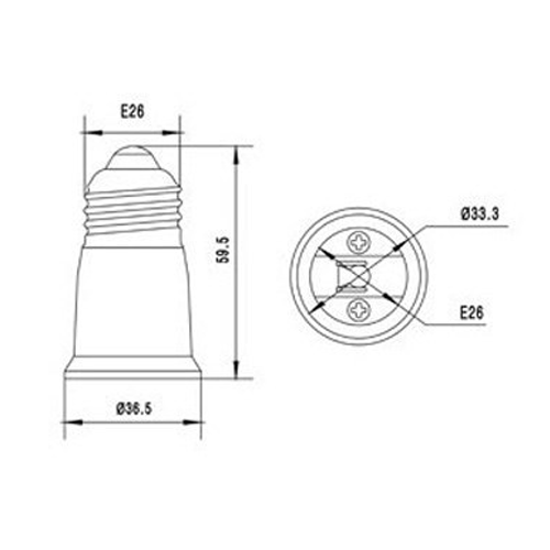 LH0904 E26 medium base lamp holder/socket extender extends lamp 1 3/8 inches