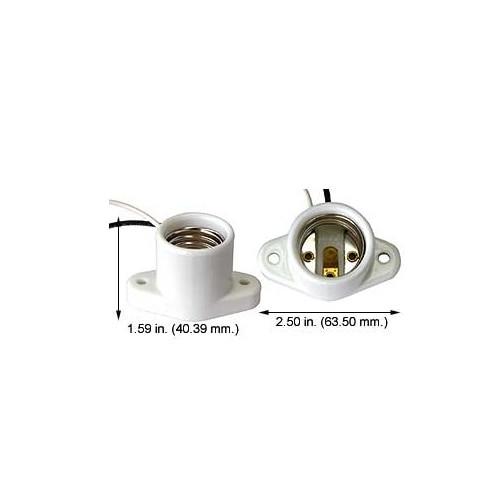 E26 Medium Base Lamp Holder Socket Porcelain 6 inch 18 awg leads