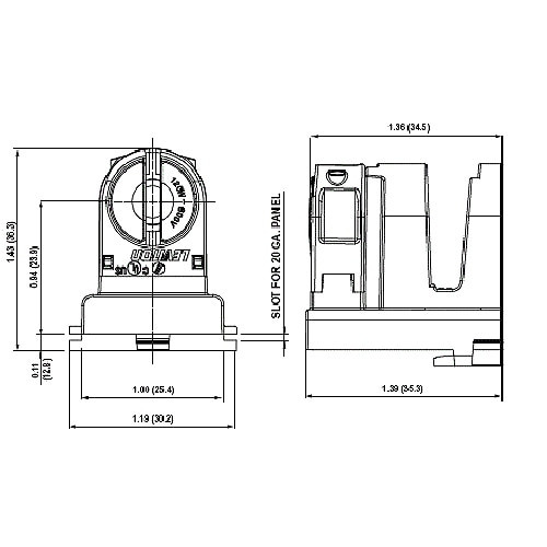LH1047 T12 / T8 to T5 adapter adjusts for difference in length of T5 lamps