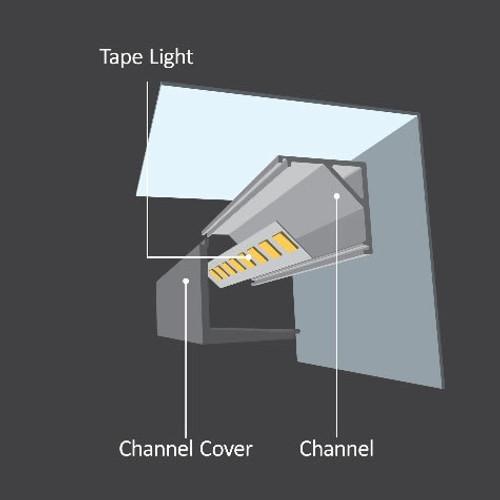 "Diode LED DI-CPCHB-SQC10-48 48"" Chromapath LED Tape Light Square Corner 10mm Aluminum Channel Bundle"