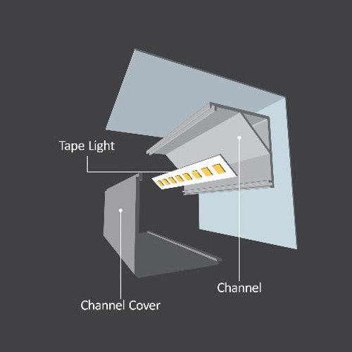 "Diode LED DI-CPCHB-SQC20-48 48"" Chromapath LED Tape Light Square Corner 20mm Aluminum Channel Bundle"