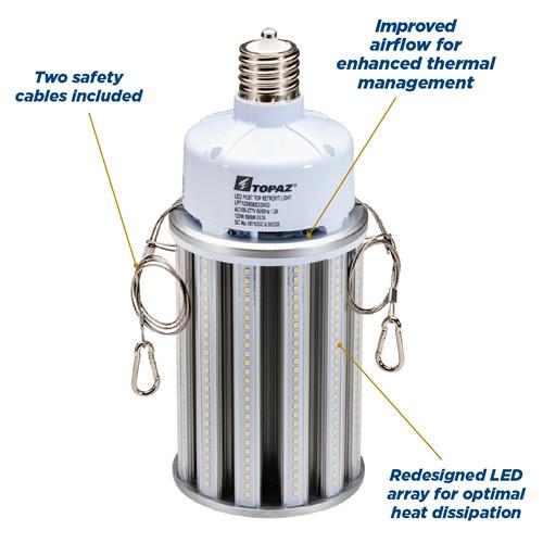 Topaz 74364 LPT80/830/E39/G3 80 Watt LED Corn Bulb 3000K E39 Mogul Base 120-277V