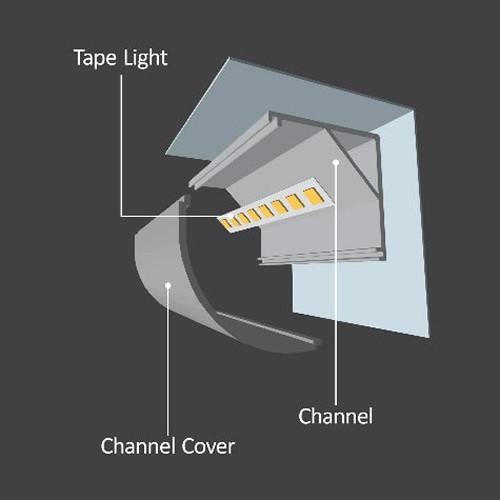 "Diode LED DI-CPCHB-RC20-96 96"" Chromapath LED Tape Light Rounded Corner 20mm Aluminum Channel Bundle"