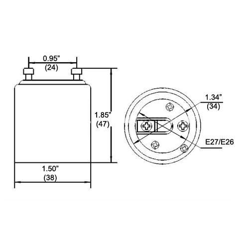 LH0806 Converts a GU24 lamp holder/socket to an E26/E27 medium base lamp holder/socket