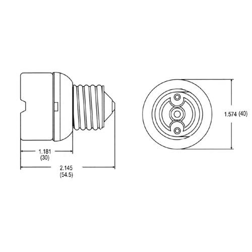 """LH0402 E26/E27 medium base porcelain lamp holder/socket extender extends lamp approximately 1 1/4"""""""