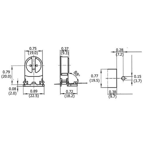 LH0015 Linear fluorescent T5 miniature bipin polycarbonate lamp holder/socket