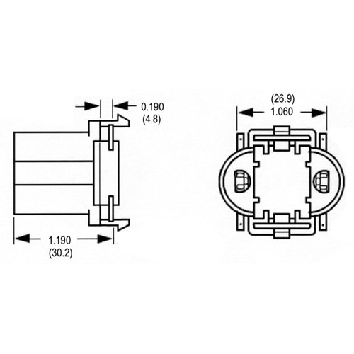 LH0186 5,7,9 & 11w G23, 2 pin CFL lamp holder/socket with front snap in vertical mounting