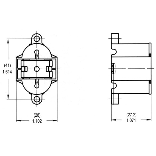 LH0223 10 or 13w G24q-1, 4 pin CFL lamp holder/socket with bottom split pin horizontal mounting