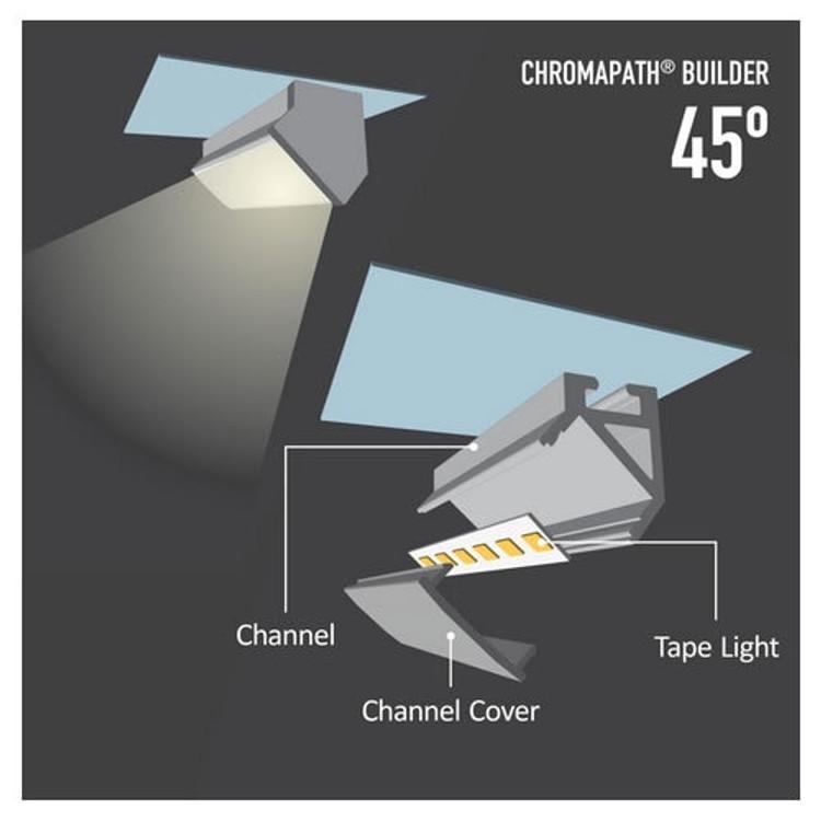 "Diode LED DI-CPCHA-4596 96"" Chromapath LED Tape Light 45° Aluminum Channel"