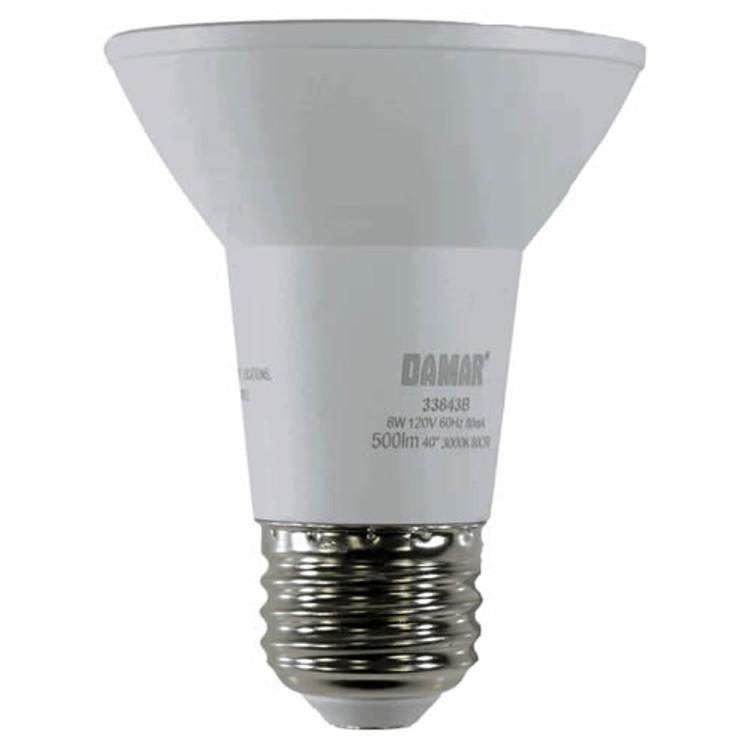 Damar 33843A LED7PAR20FL/3K/D/WL 7 Watt PAR20 LED Flood Light Bulb 3000K Dimmable Wet Location Rated 120V