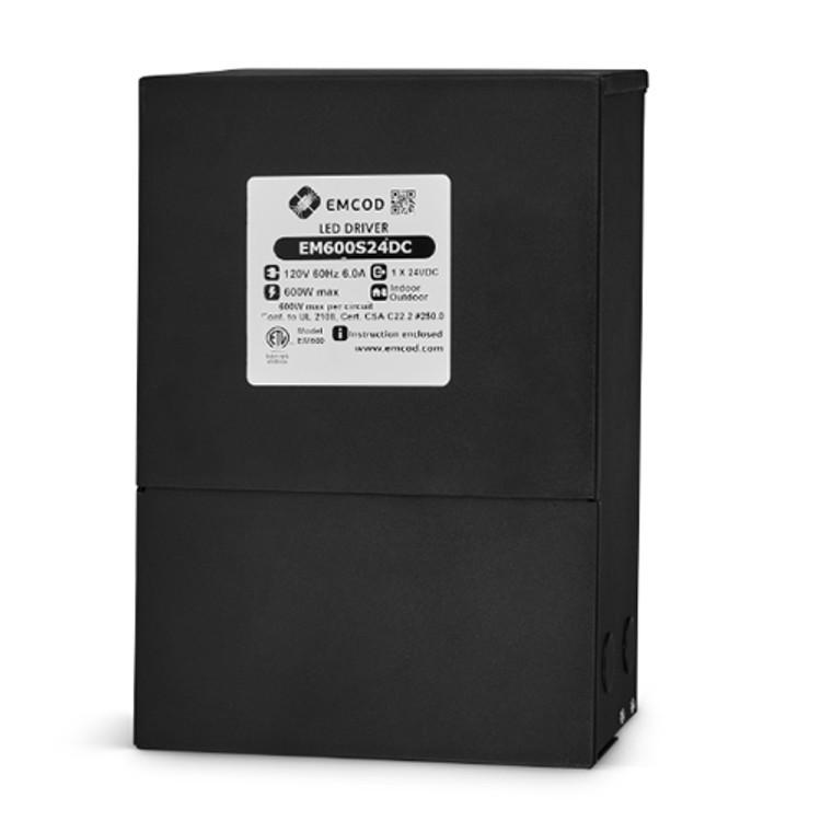Emcod EM600S24DC 600 Watt LED Driver Magnetic Dimmable Single Circuit 120V Input 24V DC Output
