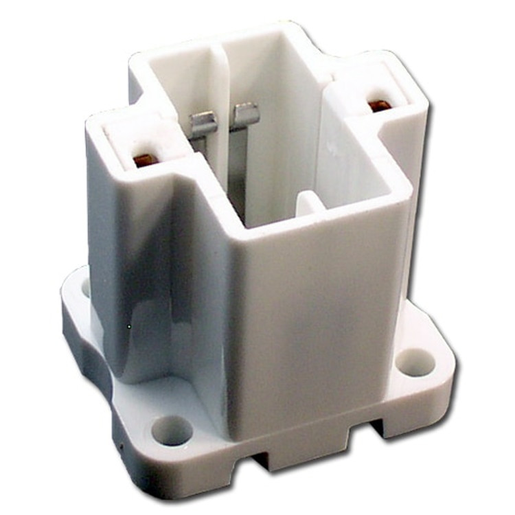 LH0227 13w GX23, GX23-2 2 pin CFL lamp holder/socket with 4 hole vertical mounting