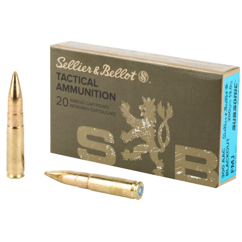 S&B 300 Blackout, 200 Grain, Full Metal Jacket, Subsonic, 20 Round Box