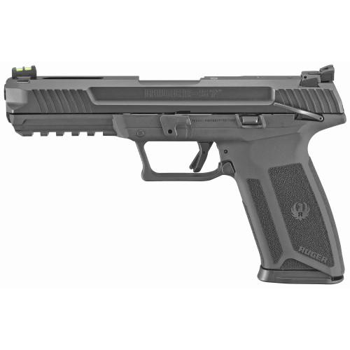 "Ruger 57 5.7X28mm 4.94"" Black 2 20rd Mags Ambi Safety Fiber Front Adj Rear 16401"