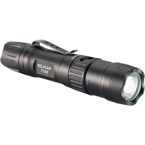 Pelican, 7100 LED - 695/348/33 Flashlight with Clip, Rechargeable, Nylon Holster, Black