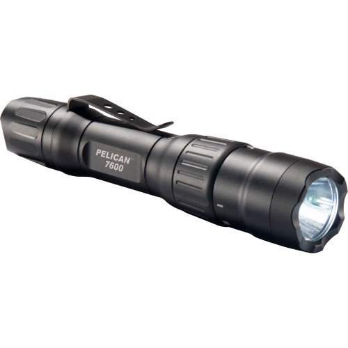 Pelican, 7600 3-Color RGB LED - 944/479/37 Lumens Flashlight with Clip, Rechargeable, Nylon Holster, Black