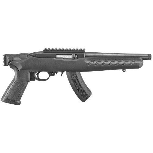 "Ruger Charger 22 Railed Brace Mount Pistol 22lr 8"" TB A2-Grip Black Picatinny Rail 15Rd w/Bipod 4938"