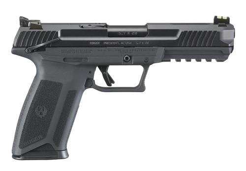 "Ruger 57 5.7X28mm 5"" Black 2 10rd Mags Ambi Safety Fiber Front Adj Rear 16402"