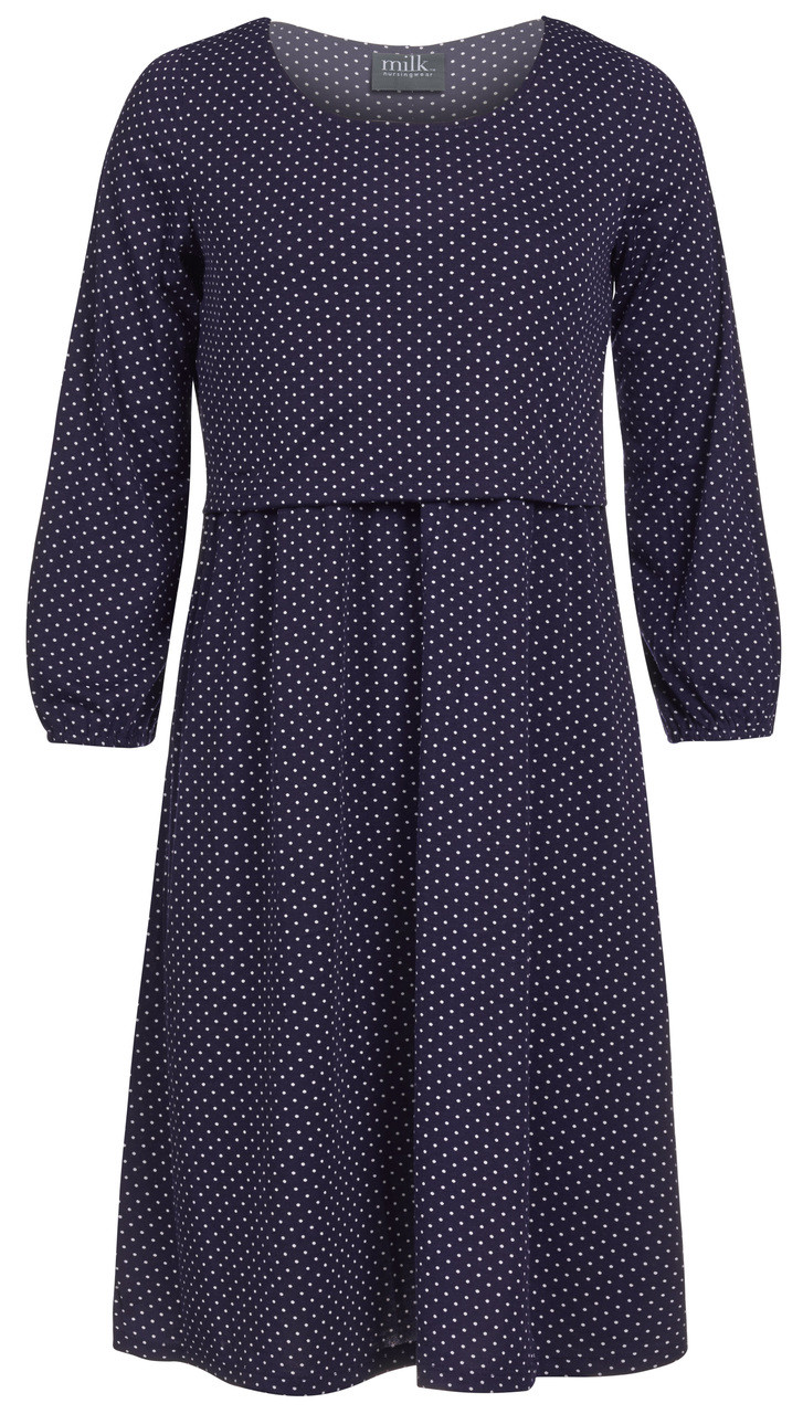 cce6a1f1675 Navy dot maternity and nursing dress - Milk Nursingwear