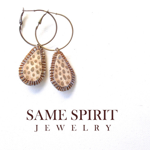 EARRINGS - TINY CRIMPED TEARDROP (moon river - crimped)