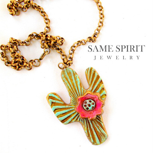 NECKLACE - BLOOMING CACTUS (on bronze rolo chain)