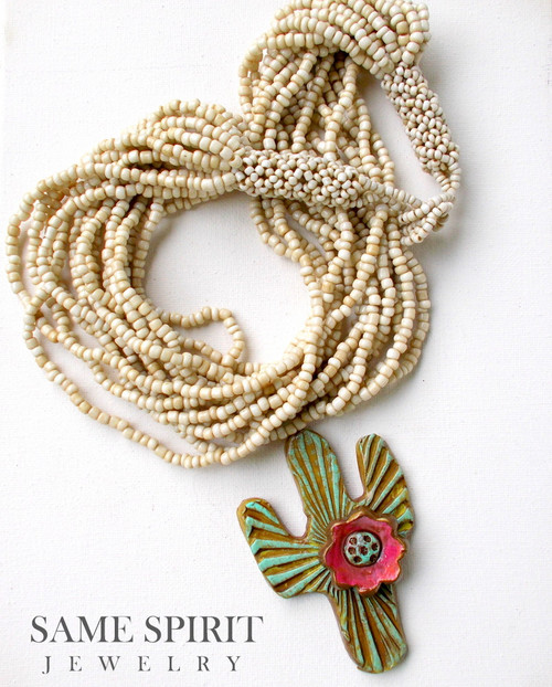 NECKLACE - White Buffalo Seed Beads with BLOOMING CACTUS