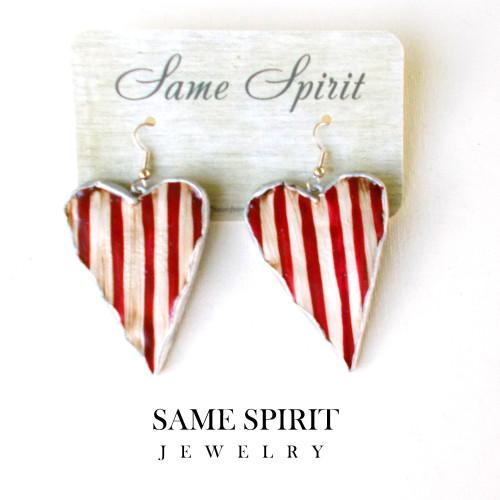 PATRIOTIC earrings - Medium Heart (red and white stripe)