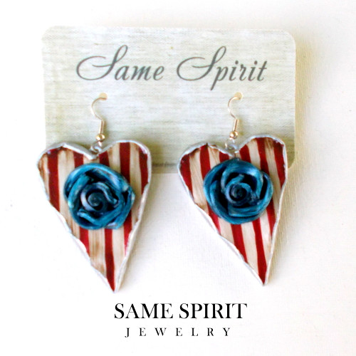PATRIOTIC earrings - Medium Hearts red/white stripe with BLUE ROSE