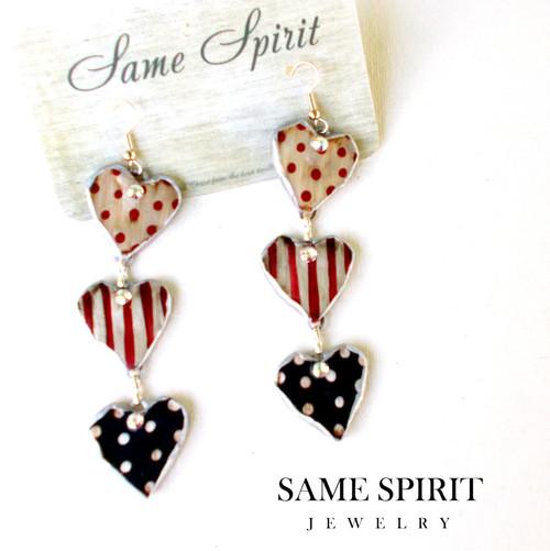 PATRIOTIC earrings - Heart Trio