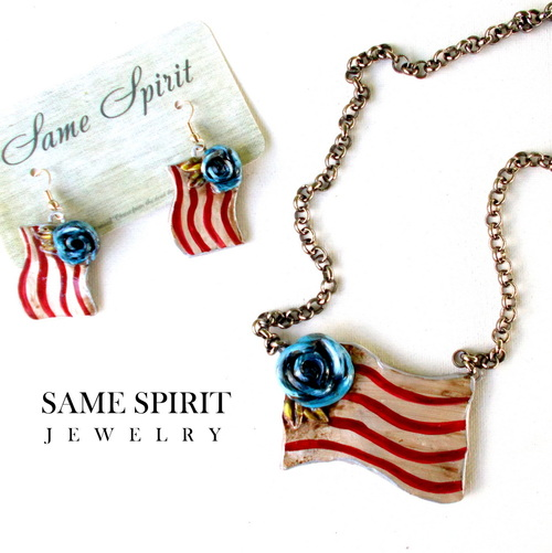 NECKLACE - PATRIOTIC flag with blue rose