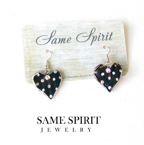 PATRIOTIC  earrings - Tiny  Blue Hearts (with white dots)