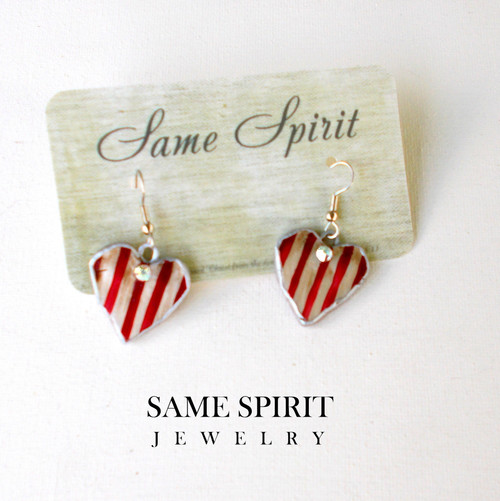 PATRIOTIC earrings - Tiny Red & White Striped Hearts