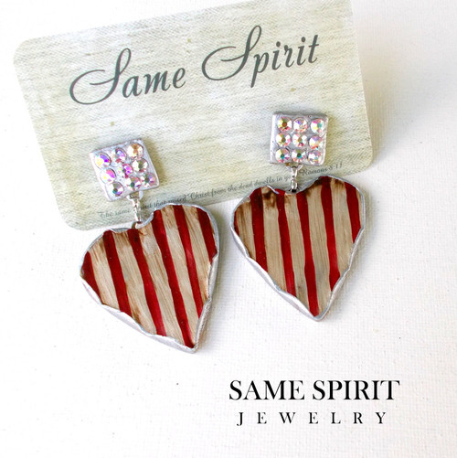 PATRIOTIC - POST BACK earrings - Tiny Crystal Studs with Red & White Striped Heart